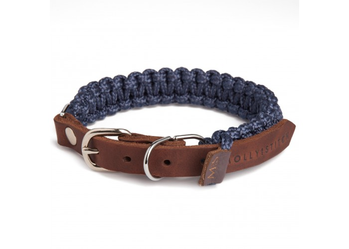 Collar para perro Touch of Leather Azul Marino Molly & Stitch Mascoboutique
